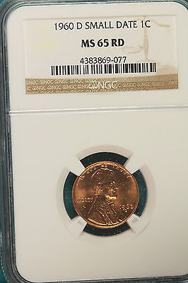 1960-D NGC MS65 RED SMALL DATE Lincoln Memorial Cent!! #A6794
