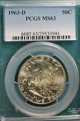1963-D PCGS MS63  Franklin Half Dollar!!#A1209