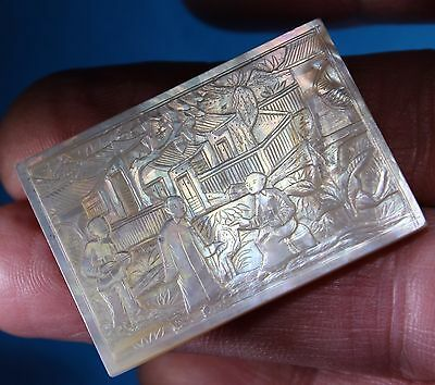 Antique Chinese Mother Of Pearl Gaming Counter (1) Chip Trump Marker Nacre Jeton