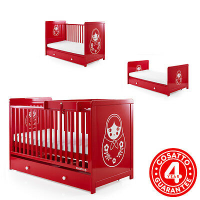 Cosatto Babushka Red 3 In 1 Story Cot Bed Retro Baby Cotbed With Foam Mattress