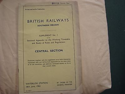 British Railways Southern Region Central Section Supplement No 1 to Appendix