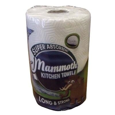 6 Rolls White Mammoth 2 Ply Super Absorbent Kitchen Towel 200 Sheet Rolls NEW