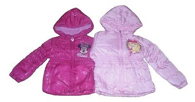 Girls Coat Padded Jacket Disney Minnie Mouse Or Barbie  Hooded 1-8 Years