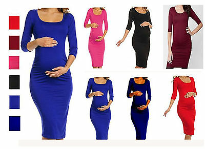 Ladies Women's Maternity 3/4 Sleeve Pregnancy Nursing Bodycon Midi Dress 8-26