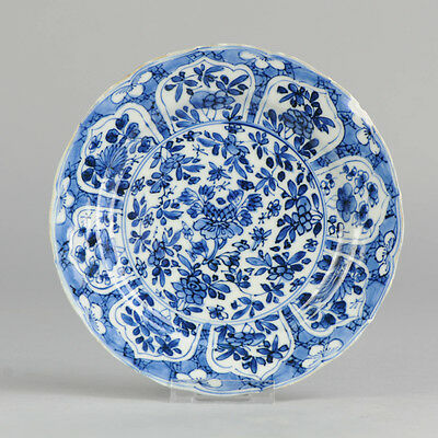 Antique Kangxi Marked 18th C Chinese Blue & White Porcelain Plate China Qing
