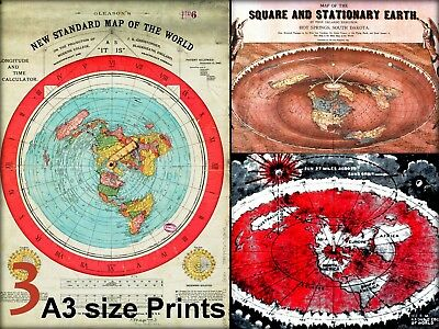 3x FLAT EARTH GLEASON'S NEW STND WORLD MAP - SQUARE & STATIONARY EARTH - AZIMUTH
