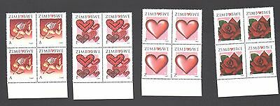 ZIMBABWE 2008 ST VALENTINE'S Love Heart Cupid  BLOCKS  MNH