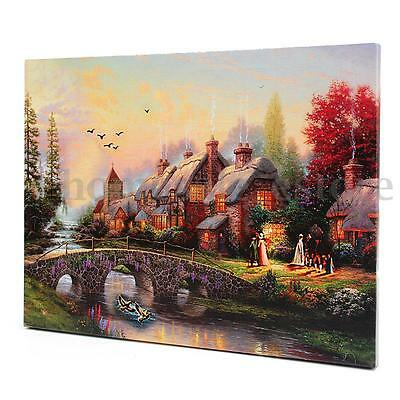 LED Lighted Luminous House Painting Canvas Picture Living Room Wall Art Decor