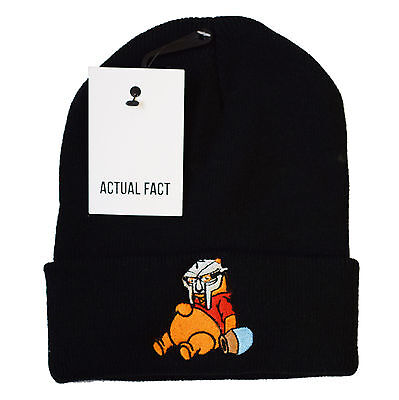 Actual Fact MF Doom Pooh Beanie Winter Hip Hop Roll Up Black Wooly Hat