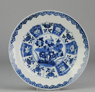 Antique 18th c Kangxi Blue White Plate Marked Chinese China Porcelain Qing