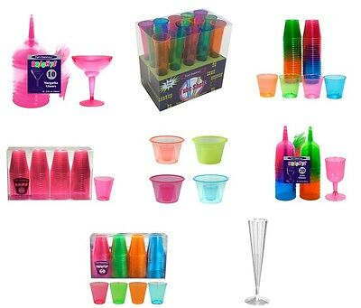 BRIGHT PLASTIC DRINKING CUPS (Cups/Champagne/Wine/Shot/Tubes)