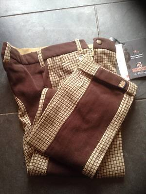 Treadstone Veroni Girls Jodhpurs Beige Box Print/chocolate Size 22""