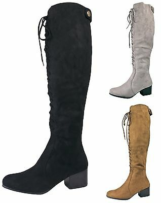 Womens Lace Up Knee High Boots Faux Suede Low Block Heels Warm Winter Girls Size