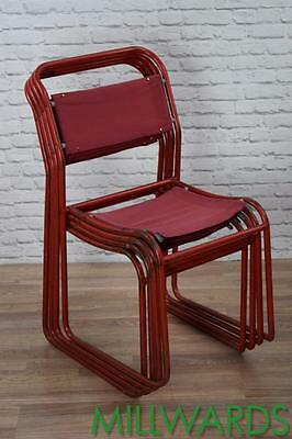 Set Of 4 Vintage Industrial Red Cox Canvas Metal Stackable Cafe Bar Chairs