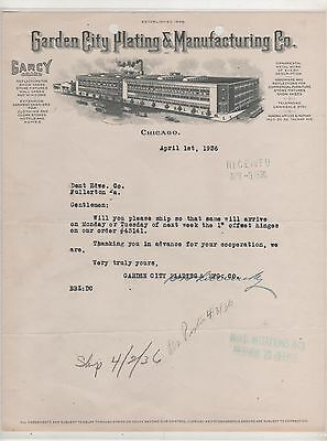Letterhead- Garden City Plating & Manufacturing Co. Chicago, Ill 1936