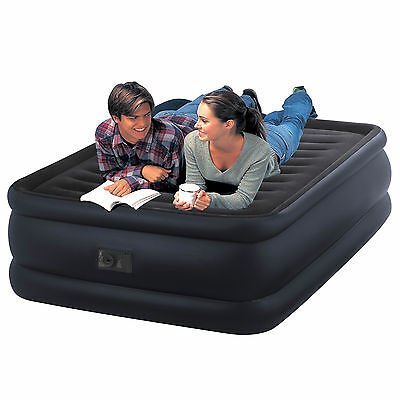 Intex Queen Raised Downy Air Bed Airbed Mattress + Built-in Electric Pump #64440