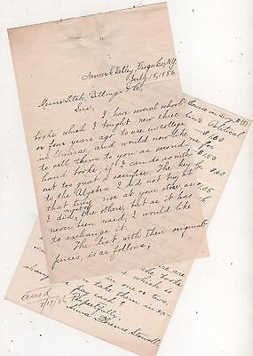 Letter- Newark Valley, Tioga Co. NewYork- 1886- Woman selling used college books