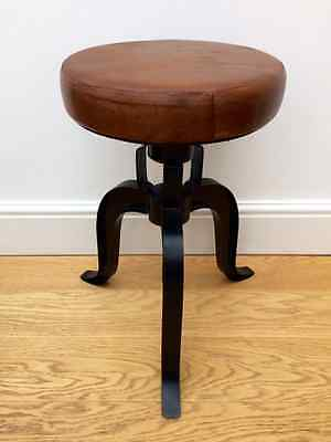 Industrial bar stool wooden top shabby vintage chic kitchen leather top seat