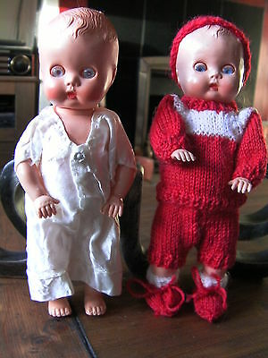 "Vintage Made in England hard plastic baby dolls. 7.5"" tall"