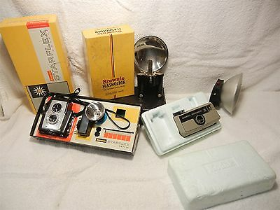 Vintage Kodak Brownie Hawkeye Starflex Camera And Accessories Supermite Lot