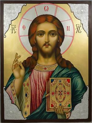 Jesus Christ Pantocrator Our Lord Handpainted Byzantine Orthodox Icon 40cm L