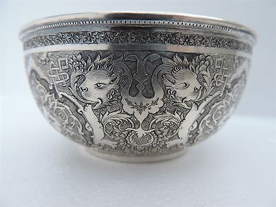 Ultra Fine Antique Signed Persian Islamic Isfahan Solid Silver Bowl By Parvaresh
