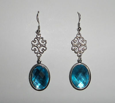 Lacy Filigree Victorian Style Turquoise Acr Crystal Dark Silver Plated Earrings