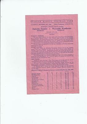 Dulwich Hamlet Reserves v Wycombe Wanderers Reserves Football Programme 1948/49