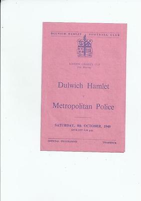 Dulwich Hamlet v Metropolitan Police London Charity Cup Programme 1949/50