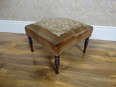 Super Antique Victorian 19thC square foot stool, woodwork tapestry seat