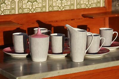 VINTAGE CMIELOW 6 PERSON COFFEE SET 1960's PINK/ GREY PERFECT CONDITION