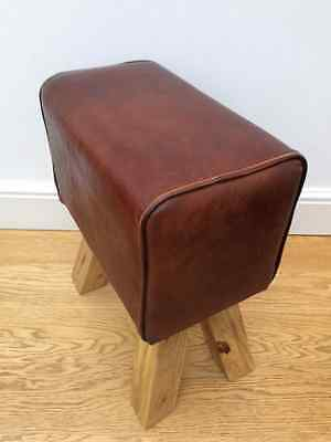 vintage footstool vaulting horse gym pommel seat Leather stool 187 wooden chair
