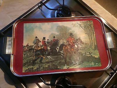 Woodmet Vintage 1960's Gold Metal With Hunting picture Serving Tray