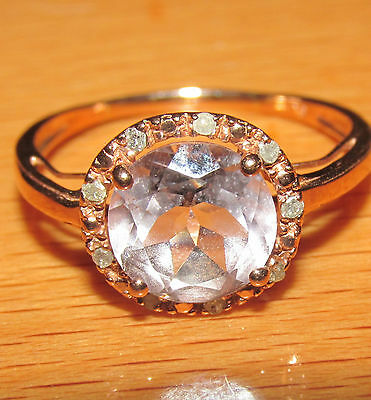 BEAUTIFUL SECONDHAND 9 ct ROSE GOLD  DIAMOND & PINK TOPAZ  RING SIZE N1/2