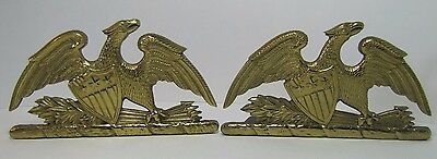 Old Spread Winged Eagle Shield Brass Bookends ornate decorative art statues
