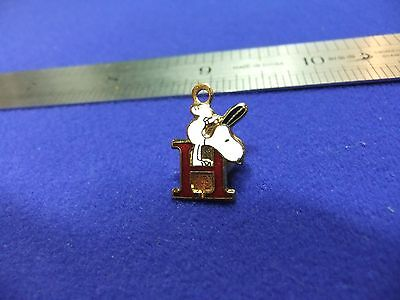 vtg snoopy pendant charm letter initial H red 1970s peanuts schulz cartoon