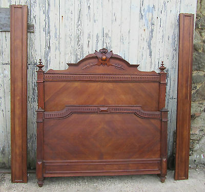 French Carved Walnut Double Bed
