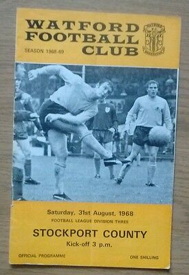 Watford FC v Stockport County 1968 programme. League Division Three.