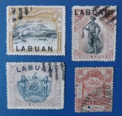 Early Labuan, used stamps x 4