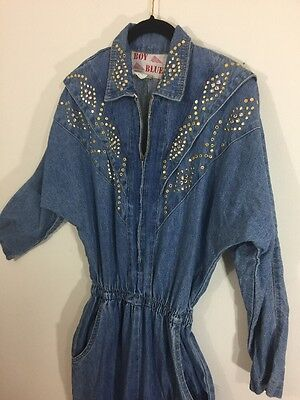 Vintage 1980s Bedazzled Denim Zipper Jumpsuit Stonewashed Small Jumper Coveralls