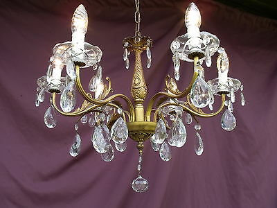 @lovely Vintage French Bronze Chandelier With Glass Crystal Drops Magnifique !