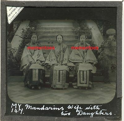 China 1905 Mandarins Wife & Daughters Chinese Glass Lantern Slide SPG Missionary