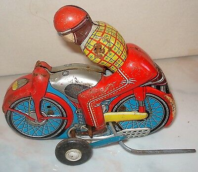 Vintage Tin Toy - Motorcycle and Rider - Made in Japan