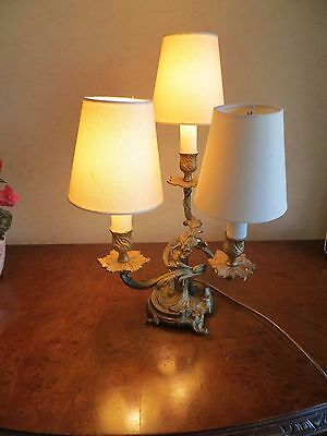 Antique Art Deco French Style Ornate Brass 3 Arm Chandelier Table Lamp