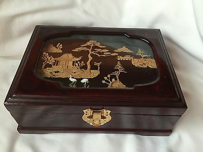 Vintage Large Chinese Jewellery Box With Cork Top Hand Made Picture 3D & Key
