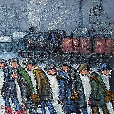 Fantastic James Downie Original Oil Painting - The Railway Men