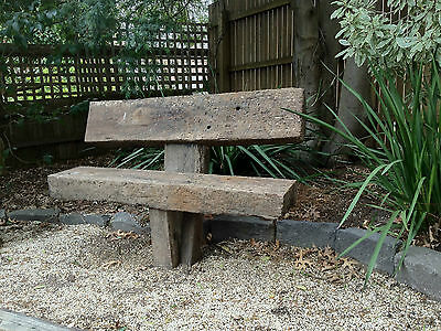 Anchored solid recycled railway sleeper garden seat
