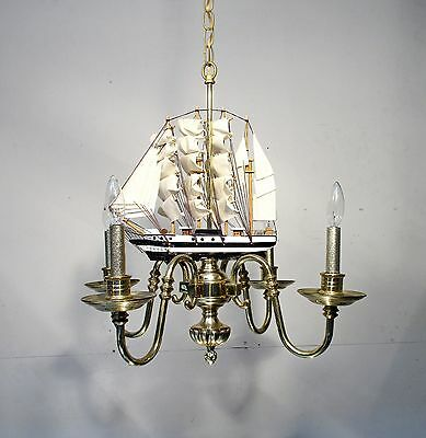 Vintage Chandelier Brass With Sailing Ship Light Fixture Boat