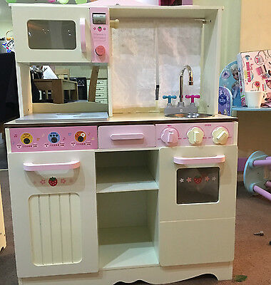 Girls Kids Wooden Play Kitchen Children's Role Play Pastel Kitchen + accessories