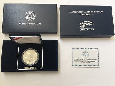 2005 Marine Corps 230th Anniversary Commemorative Silver Dollar Proof Coin